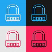 Color Line Safe Combination Lock Icon Isolated On Color Background. Combination Padlock. Security, S poster