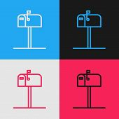 Color Line Open Mail Box Icon Isolated On Color Background. Mailbox Icon. Mail Postbox On Pole With  poster