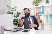 Cant Resist Music. Businessman Enjoy Music In Office. Bearded Man Listen To Music And Sing Along To  poster