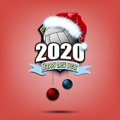 Happy New Year 2020. Volleyball Logo Template Design. Volleyball Ball In Santa Hat. Pattern For Bann poster