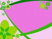 Pink - green flower illustrate card