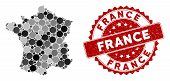 Mosaic France Map And Round Seal Stamp. Flat Vector France Map Mosaic Of Random Round Items. Red Sea poster