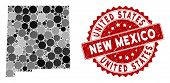 Mosaic New Mexico State Map And Circle Seal Stamp. Flat Vector New Mexico State Map Mosaic Of Random poster