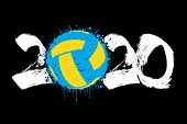 Abstract Numbers 2020 And Volleyball Ball Made Of Blots In Grunge Style. 2020 New Year On An Isolate poster