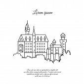 Neuschwanstein Castle Vector Line Icon. Black Symbol Neuschwanstein Castle. Neuschwanstein Castle Si poster