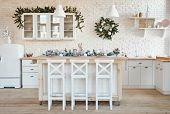 Interior Light Kitchen With Christmas Decor And Tree. White Kitchen In Classic Style. Christmas In T poster
