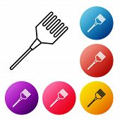 Black Line Hairbrush Icon Isolated On White Background. Comb Hair Sign. Barber Symbol. Set Icons Col poster
