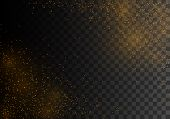 The Dust Sparks And Golden Stars Shine With Special Light, Bokeh Effect. Vector Sparkles On A Transp poster