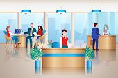 Bank Office Interior. Administrator, Bank Managers And Cashier Work With Clients. Banking Service, L poster