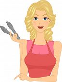 Illustration of a Girl Holding Tongs