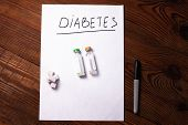 Diabetes Sign On A White Paper With Insulin Ampoules, Sugar Cubes On Wooden Background, Prevention D poster