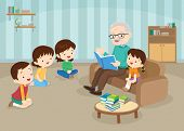 Grandparents With Grandchildrens Reading,the Grandchildrens Read Books For The Grandfather To Sit On poster
