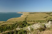 Coastal Footpath Between Durlston And Dancing Ledge In Dorset On The South Coast poster