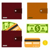 Wallet, Mens Purse. Wallet With Money And A Credit Card. Banknote, Gold Coin, Credit Card And Wallet poster
