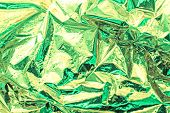 Bright Christmas Gold And Mint Background. Shiny Green Mint Foil Texture. poster