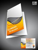 Professional 3D business flyer template or corporate brochure or cover design on grey and yellow wav