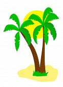 Una ilustración de la isla desierta con palmeras y un sol sonriente de dibujos animados