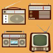 Vintage Home Appliances, Set Of Realistic Retro Appliances. Vector Illustration. poster