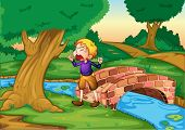 Illustration of boy crying in the woods