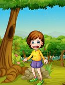 Illlustration of girl crying in woods