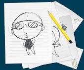 Illustration of a child sketched on paper