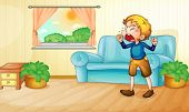 Illustration of a boy crying in living room