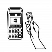 Nfc Payment Vector Outline. Contactless Payment Machine From Key Fob. Vector Illustration Hand Of Cu poster