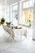 Christmas Interior Nordic Kitchen With Christmas Decoration. poster