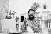 Crazy About Technology. Bearded Man In Funky Glasses Using Smartphone With Mobile Technology. New Te poster