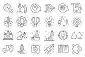 Startup Line Icons. Launch Project, Business Report, Target Icons. Strategy, Development Plan, Start poster
