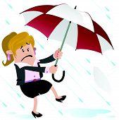 Businesswoman Buddy blown away with Umbrella