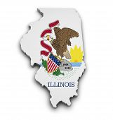 Illinois Flag Map Shape