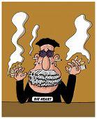 A heavy smoker man