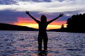 Sunset in Algonquin park. Grand lake