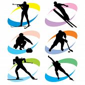 stock photo of olympic-games  - set of vector silhouette icons of the winter sport and the Olympic Games - JPG