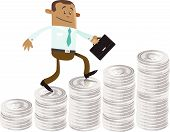 stock photo of indian money  - illustration of Business Buddy climbing up a money shaped bar chart - JPG