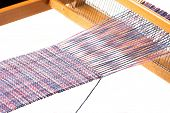 foto of handloom  - Old wooden handloom and nice weaving project - JPG