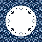 Round navy blue and white frame with anchors and dots, on a scalloped background, vector
