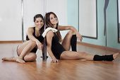 Pole fitness students on a break