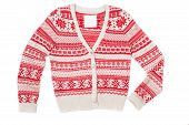 Bright Knitted Sweater With Red Pattern