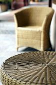 Wicker Rattan Chair And Table