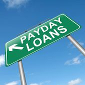image of payday  - Illustration depicting a sign with a payday loans concept - JPG