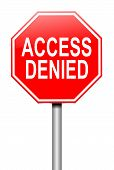 image of denied  - Illustration depicting a sign with an access denied concept - JPG