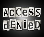 picture of denied  - Illustration depicting cutout printed letters arranged to form the words access denied - JPG