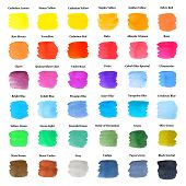 Set Of Colorful Strokes As Watercolor Palette With Names, Hand Painted, Isolated