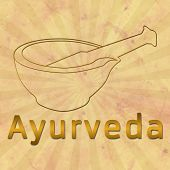 Ayurveda text and Mortar with Brown Grunge