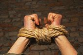 stock photo of slavery  - Hands tied up with rope against brick wall - JPG