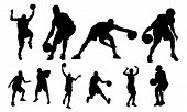 stock photo of siluet  - Basketball vectors from my sports vectors collection - JPG