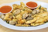 Southeast Asian Baby Oyster Omelette Closeup