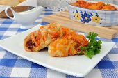 Cabbage Rolls In Tomato Gravy With Onions And Carrots